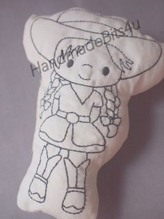 DoodleIts  Doodle It  Cowgirl  Washable Softie  by HandmadeBits4u