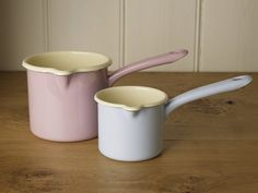 Pink and Blue Enamelled Milk Pans