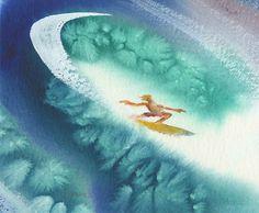 "Ethereal Slice - 9.5"" X 11.5"" - Surf Art: John Severson art of surfing. Surf Paintings, Surf Art, Surf Photos"