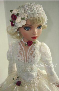 Ellowyne Prudence Amber Lizette Imperium Park OOAK Lace Vintge Gown Collet Art | eBay