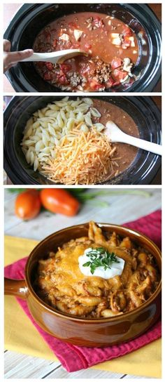 This Crockpot Taco Pasta Bake is a favorite for the kids and adults! Dress up with sour cream, cheese or olives!