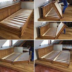 village style, folding double bed – diy home decor wood Folding Double Bed, Folding Beds, Diy Double Bed, Diy Pallet Furniture, Furniture Design, Ikea Furniture, Furniture Outlet, Discount Furniture, Office Furniture