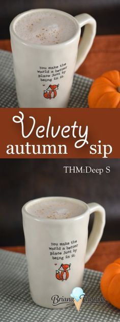 Velvety Autumn Sip - it's combines elements of the Shrinker and Bulletproof-style drinks for the ultimate metabolism rev!  THM: Deep S, low carb, sugar free, gluten/egg free with nut free suggestion