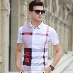 Men Polo Shirt. Plaid Patchwork, Short Sleeve. Cool Mercerized Cotton, Slim Fit, Luxury Brand