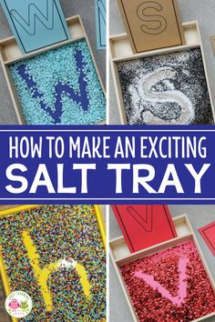 Help kids who are learning the alphabet work on letter formation with a simple DIY salt tray. Increase their excitement and sensory input with these creative ideas for materials and mix-ins. Salt trays are a great fine motor activity and a low-stress way Fun Writing Activities, Fine Motor Activities For Kids, Pre K Activities, Motor Skills Activities, Preschool Learning Activities, Letter Activities, Creative Activities For Kids, Preschool Writing Centers, Creative Ideas For Kids