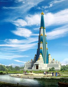 Vrindavan chandrodaya Temple. World's tallest temple, India