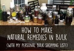 If you're starting to think about the new school year, you may want to consider making natural remedies ahead of time! I purchase the ingredients in bulk (which saves money) and make them in bulk (which saves time) and I'm set for most of the year. Here's my list and the process I follow!