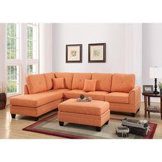 Polyfiber BM168676 2 Piece Sectional Set With Nailhead Trims Orange