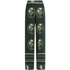 Stella Jean Graphic-print silk wide-leg trousers ($231) ❤ liked on Polyvore featuring pants, green multi, elastic waist pants, silk wide leg pants, patterned pants, wide-leg pants and green pants
