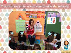 Ejercicios de praxias con marionetas de animales.  http://blogdelosmaestrosdeaudicionylenguaje.blogspot.com.es/2014/05/praxias-con-marionetas-de-animales.html#