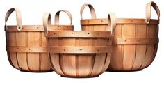 three sizes of handmade wooden bushel baskets with leather handles