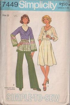 MOMSPatterns Vintage Sewing Patterns - Simplicity 7449 Vintage 70's Sewing Pattern GORGEOUS Deep V Neck Border Print Hippie Tunic Top, Bias Blouse, Flared Skirt and Pants