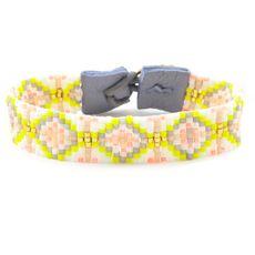 Yellow Mix Single Wrap Bracelet on Blue Grey Leather