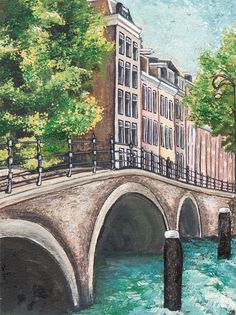 Arches of Amsterdam - Original Contemporary Acrylic Landscape Painting on Watercolour Paper by Diane Griffiths, art Amsterdam Holland canals by HandonArtShop on Etsy https://www.etsy.com/listing/157434207/arches-of-amsterdam-original