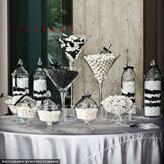 Black and White Candy Bar.So happening! Black White Parties, Black And White Theme, Black And White Party Decorations, Black And White Centerpieces, Candy Buffet Tables, Candy Table, 40th Birthday Parties, Anniversary Parties, White Candy Bars