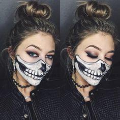 Half-skull halloween makeup
