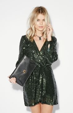Katie Emerald Sequin Wrap Dress | New Years Eve or Holiday Dress | Love it