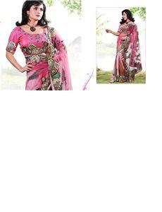 adah_pk_1002 - Pure Bemberg Georgette saree having 3D dyed skirt with net pallu having Zari, Resham Jarkhan Stone Pearls and Beats handwork
