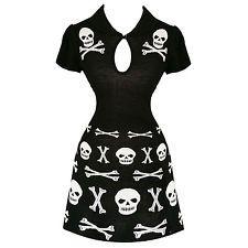 Banned Black Skull and Cross Bones Gothic Occult Party Mini Jumper Dress UK
