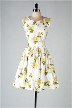 1950s yellow floral cotton dress (Etsy) http://www.pinterest.com/pin/80290805830089675/