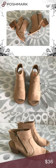 """Rocket Dog 'Crest Coast' Open Booties Manufacturer Color is Sand. New with box. Heel Height is approx 2 3/4"""". Platform Height is approx 1/4"""".Shaft Height is approx 4 1/2"""". Shaft Width is approx 10"""". Side Zipper closure. Material is Textile. Fabric Type is Faux Suede. Open Back. Open Toe. Bundle for discounts! Thank you for shopping my closet! Rocket Dog Shoes Ankle Boots & Booties"""