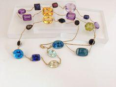 14k Gold Iolite,Tanzanite, Prasiolite, Multi Gemstone Open Back Bezel Set Necklace