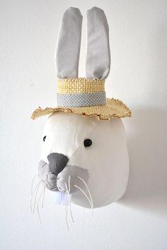 Rabbit Faux Taxidermy/Bunny Trophy Head/ Fabric Animal Trophy/wall mount rabbit head