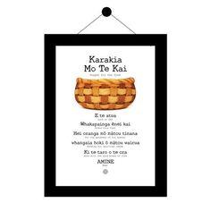 Karakia Mo Te Kai (with english) Maori Art, Kai, Bible Verses, Prayers, Poster Prints, Messages, Activities, Printed, Language