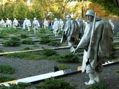 The Korean War Memorial has several areas. {} First are the 19 stainless steel statues designed by World War II veteran Frank Gaylord. These 7 foot high statues represent a squad on patrol in full battle gear all moving toward an American Flag. American Pride, American History, American Flag, Korean War Veterans Memorial, Ww2 Veterans, Washington Dc Vacation, Cemetery Art, Sculpture, Travel Around