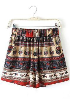 Multicolor Print High Waist Loose Shorts