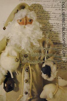OOAK Pull Toy Santa Doll...Olde Kris Kringle & his Flock Pull Toy. via Etsy.