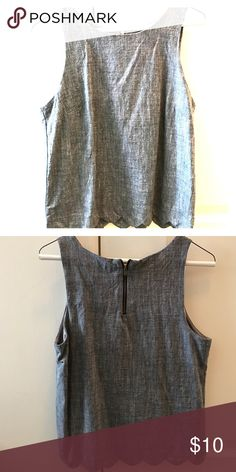 Denim top with scallop trim Perfect for spring or summer! Monteau Tops Tank Tops