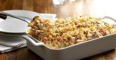 A comforting and delicious casserole featuring chicken, veggies, tons of cheese and of course always smooth, firm and delicious No Yolks noodles.