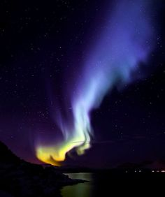 Spaceweather.com Time Machine   In auroras, blue is a sign of nitrogen. Energetic particles striking ionized molecular nitrogen (N2+) at very high altitudes produces a cold azure glow