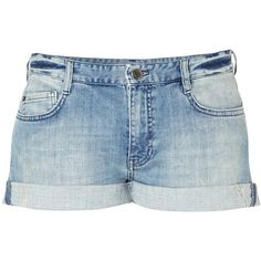 French Connection French Connection Afterglow Denim Shorts ($98) ❤ liked on Polyvore