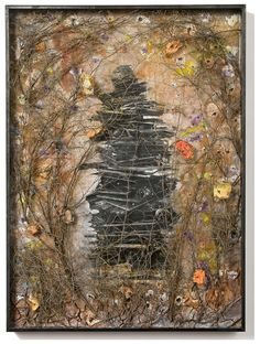 ANSELM KIEFER 20 Jahre Einsamkeit 2010 Paint and clay emulsion and photographs on board with dried branches 190 x 140 cm