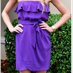 Strapless Amanda Uprichard Cocktail Dress Gorgeous simple purple cocktail dress with tulip bottom. Looks amazing with strappy nude or black heels and delicate jewelry. Great condition but does not have a bow like in the picture. Amanda Uprichard Dresses Mini