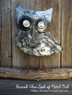 Aleenes Burned Glue Look of Metal Owl by Tiffany Windsor