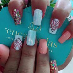 Colorful Nail Designs, Beautiful Nail Designs, Nail Art Designs, Cute Nails, Pretty Nails, Marble Nail Art, Crazy Nails, Top Nail, Perfect Nails