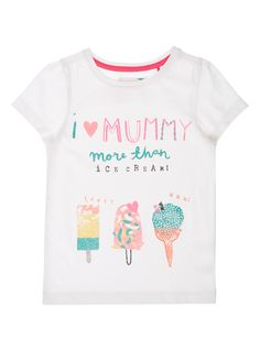 This cute t-shirt is perfect for your little one's everyday wardrobe. Great with leggings, it is finished with a fun 'I love Mummy' and ice cream print on the front. Girls white I love Mummy t-shirt Short-sleeved Round neck Keep away from fire ss16