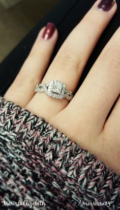 He asked for forever <3 Neil Lane Bridal Princess Cut Diamond with Halo. Infinity band. #princesscutengagementring