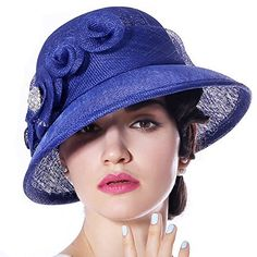 4274d18e6a5 June s Young Women Derby Church Sinamay Hats Lady Formal Hat Wedding Party  Royal Blue