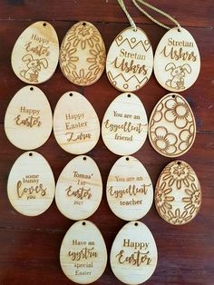 Personalised Easter laser cut egg shaped tags Easter tags