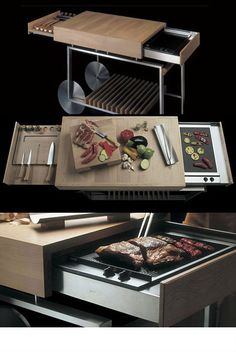 No space on your urban balcony for a grill? Check out this modern kitchen island that transforms into an outdoor grill when needed. Closed, it's a regular kitchen island on wheels, but slide-out compartments reveal a platform for grilling and storage for tools and implements.
