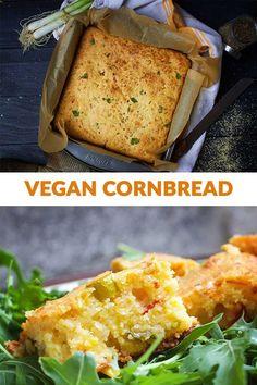 Vegan Cornbread Recipe - for the perfect cornbread every time! Tamales, Vegan Vegetarian, Vegetarian Recipes, Vegan Food, Soup Recipes, Healthy Food, Dessert Recipes, Desserts, Vegan Cornbread