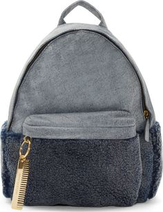 Amélie Pichard: Gray Leather & Shearling Backpack   $885 USD