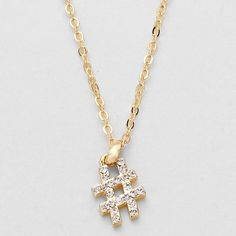 """HASHTAG RHINESTONE ACCENTED PENDANT NECKLACE 16"""" Jewelry Necklaces"""