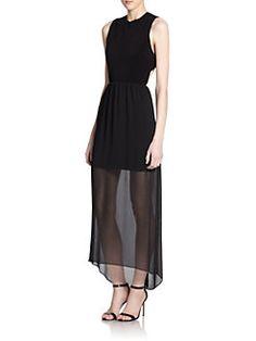 Alice + Olivia - Petal Sheer-Skirt Criss Cross-Back Dress