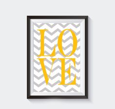 poster-love-com-chevron-cinza-quadro-a4