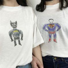 Plus size 2016 American Style Summer Loose T Shirt Superman Batman Marvel Cartoon T-Shirt Women Casual Short Sleeve Oversize Top